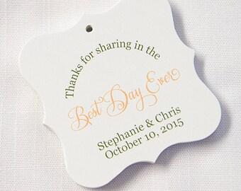 Best Day Ever Custom Wedding Tags, Custom Wedding Hang Tags, Custom Wedding Favor Tags  (FS-16)