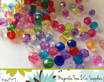Round Spacer Beads, Clear Faceted Beads, 6mm, transparent beads, acrylic spacer beads, bottle cap beads, Mixed Colors, MIX 100 pcs (BS105)