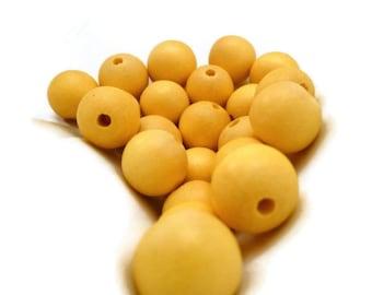 Light Yellow Wooden Bead - Yellow Beads - 16 in. Strand - 12 mm - Wooden Bead - Round Wood Bead - Yellow Bead - Round Yellow Bead