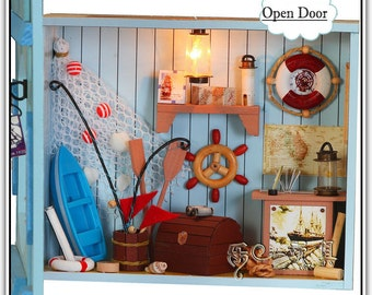 Miniature DIY Do It Yourself Doll House Dollhouse Seafaring Beach Coast Shore Shop With Lights