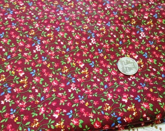 """Tiny floral vines on RED 100% cotton fabric ~ by half yard (45"""" wide)"""