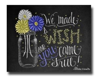 Baby Shower Chalkboard Sign Baby Boy Shower Decor Nursery Decor Boys Room Chalkboard Art Chalk Art Print Mason Jar Fireflies Daisies