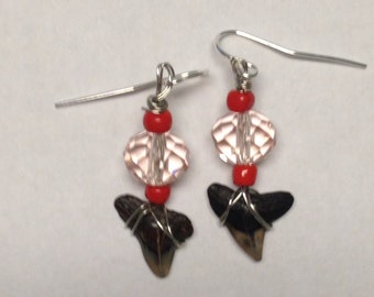 Red and Pink Dangle Earrings with Sharks Teeth - Homemade Earrings - Dangle Earrings - Homemade Jewelry - Shark Tooth Jewelry