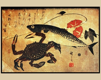 "Fish and crab. From the series ""Fish"". Old Japanese painting. Asian art. Fine art."