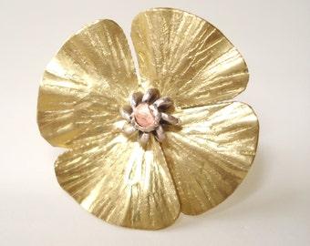 Flower Bronze Hammered Ring Adjustable Riveted Ring Bronze Modern Metalwork Ring Statement Bronze Ring