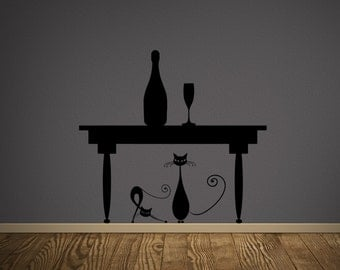 Cats Under The Table Wall Decal-Removable Wall Art Sticker-Multiple Colors