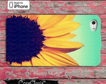 Sunflower Cute Flower Tumblr Blue Ombre Custom iPhone Case iPhone 5/5s/5c Case and iPhone 6, 6 Plus, 6s, 6s Plus and Wallet Case iPhone SE