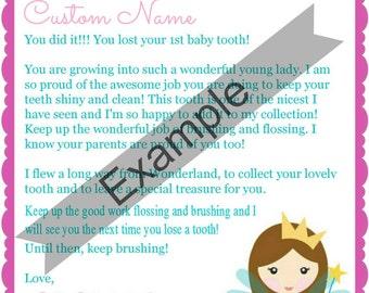 1st Tooth Fairy Letter for Girls - Custom Name