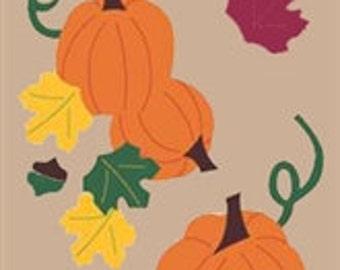Pumpkin Patch Handcrafted Applique House Flag