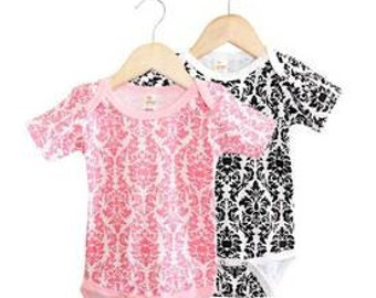 Baby Onesie - Short Sleeve Black and White Damask Print