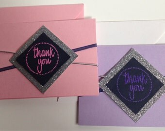 Pink or Purple and Silver Thank You Cards, Set of 4