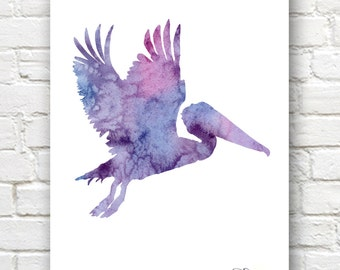 Pelican Art Print - Abstract Watercolor Painting - Wall Decor