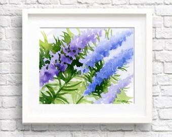"Purple Floral Watercolor Painting - ""Delphinium"" - Colorful Flowers - Wall Decor"