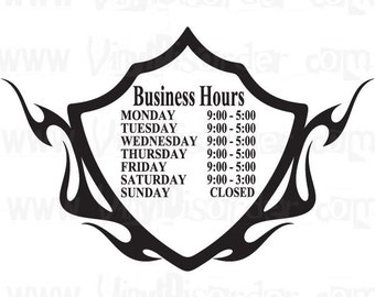 Custom Store Business Hour Window Vinyl Decal Sticker Large