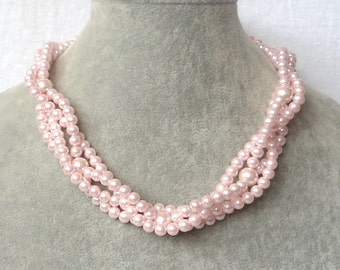 light pink Pearl Necklace,4 strand Pearl Necklace,Glass Pearl Necklace ,Wedding Pearl Necklace,Wedding Jewelry,Bridesmaid Necklace,Jewelry