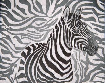 "African paper napkin serviette No 3. Zebra. Ideal for decoupage, collage, scrapbooking, paper crafts. Size: 13"" x 13"" (33cm x 33cm)"