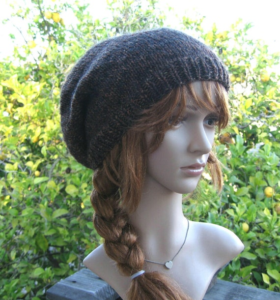 Knitting Pattern For Loose Beanie : Hand knit brown loose fit slouchy beanie wool blend brown