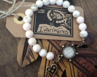 White Bracelet Shabby Chic Heart Bracelet Gemstone Bracelet