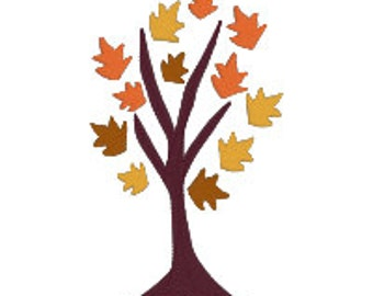 BUY 2, GET 1 FREE - Fall Leaves Tree Machine Embroidery Design in 3 Sizes - 4x4, 5x7, 6x10