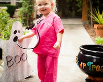 Infant and Toddler My First Scrubs - Hot Pink (MONOGRAMMED)