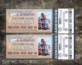 Baseball ticket invite birthday invitation sports ticket invite with or without photo