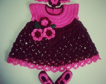 Crochet Baby Dress in Cherry Pink Dipped in Chocolate Brown
