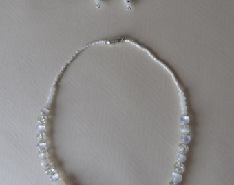 silver ornaments and white 2 jewelry (necklace and pair of earrings) - Made in FRANCE