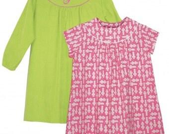 "CHILDREN'S CORNER pattern ""Rose"" Girl Round Yoke Dress Short and Long Fitted Sleeve Size 5-8"