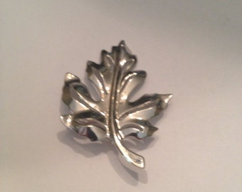Vintage Silver Leaf Brooch Pin Costume Jewelry