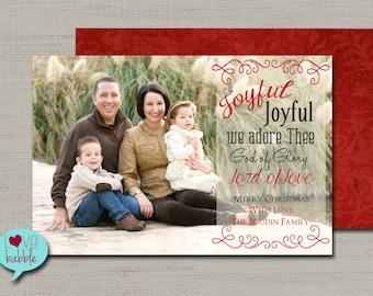 Christmas Holiday Photo Card, Religious, Joy Joyful PRINTABLE DIGITAL FILE - 5x7 Includes red back side