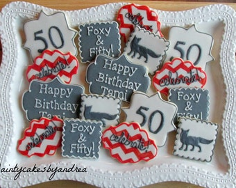 12 Foxy & Fifty Cookies, personalized!