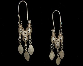 Antique Turkoman high quality tribal silver earrings, 4 3/4 inches, museum quality