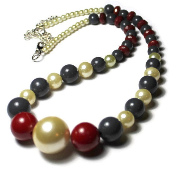 Handmade Red, Cream and Grey Beaded Necklace, Handmade Necklace, Gift For Her, Upcycled Jewelry, Assemblage, Fall Colors, Gray Necklace