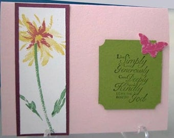Handstamped Inspirational Card with Watercolor Flower in Red and Yellow and Pink Butterfly