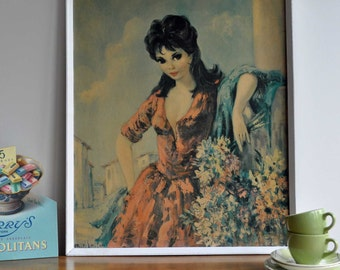 Original Vintage 1960s Dallas-Simpson Flower Girl Print Framed