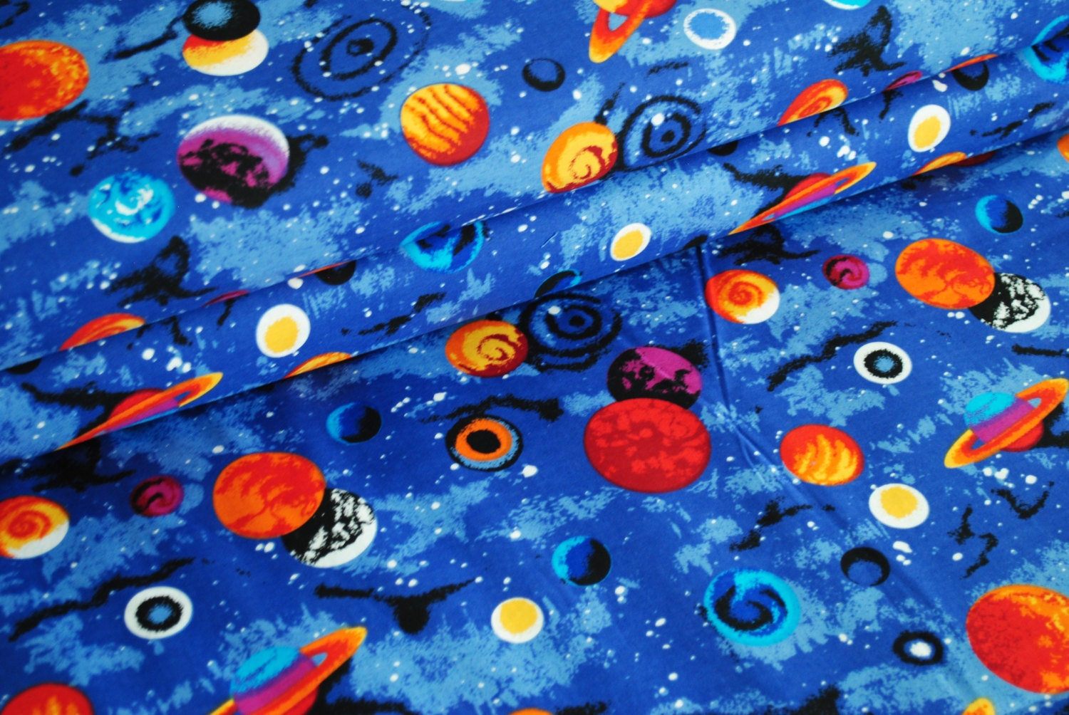 Universe and planets cotton woven fabric for Space fabric by the yard