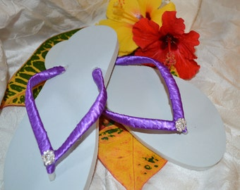 WEDDING FLIP-FLOPS, satin ribbon and rhinestone- any color available!