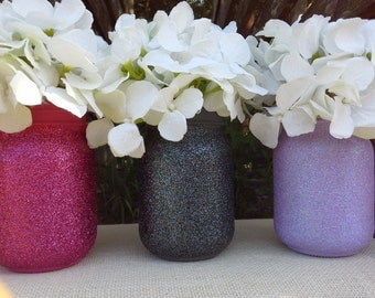 Set of 3 pint size glitter mason jar