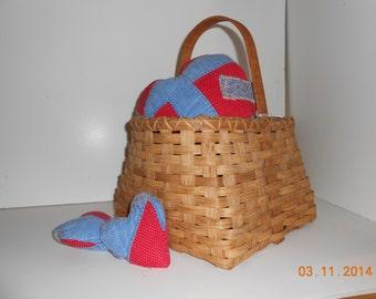 Amy hand woven basket with oak handle