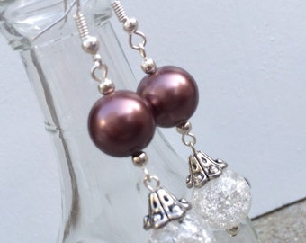 Dark Bronze brown and purpleish glass pearls perfect for weddings and bridesmaids gifts