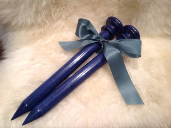 Handmade Knitting Needles US Size 50 Indigo Blue