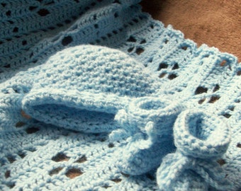 Baby Blue Blanket, Hat and Booties