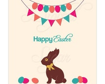 Easter Chocolate Bunny Clipart, Spring Clip Art Vector, Digital Graphics Illustration, Commercial Use Png