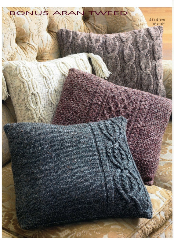 Free Cushion Cover Knitting Patterns : Vintage Aran cushion cover set knitting pattern digital