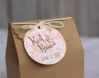 Rustic wedding favor personalized tags, country wedding tag, wedding favor tag, burlap and lace tag, lace favor tags, wedding gift tags