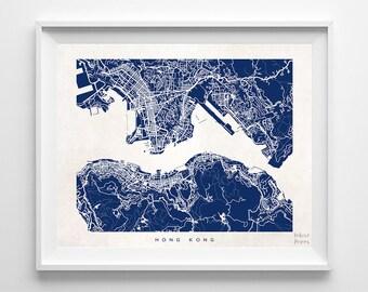 Hong Kong Map, Hong Kong Print, Hong Kong Poster, Hong Kong Art, Giclee Print, Dorm Decorations, Dorm Wall Decor, Back To School