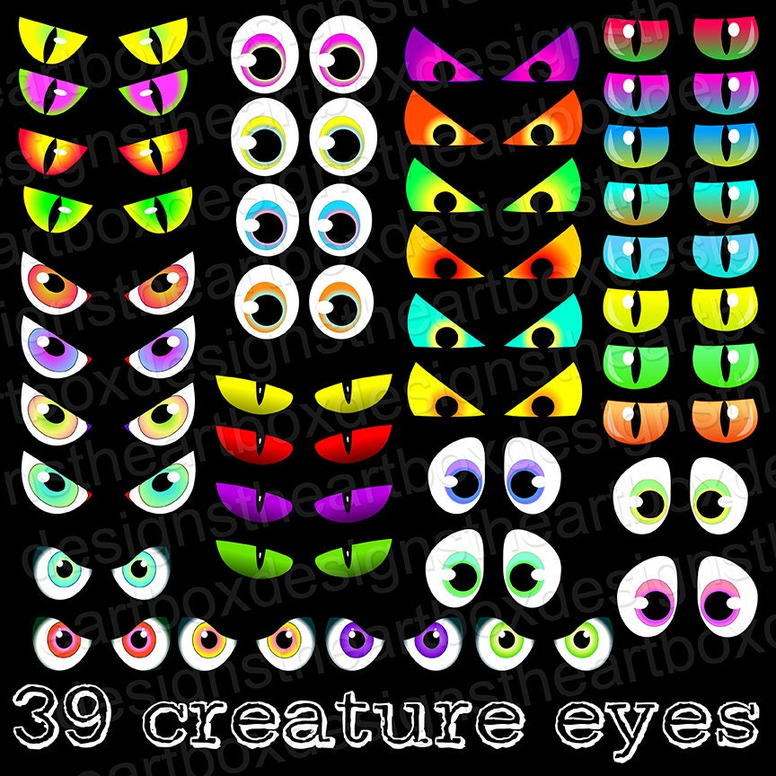 Spooky Eyes Clipart Creature Eyes Clipart Monster Eyes Cat