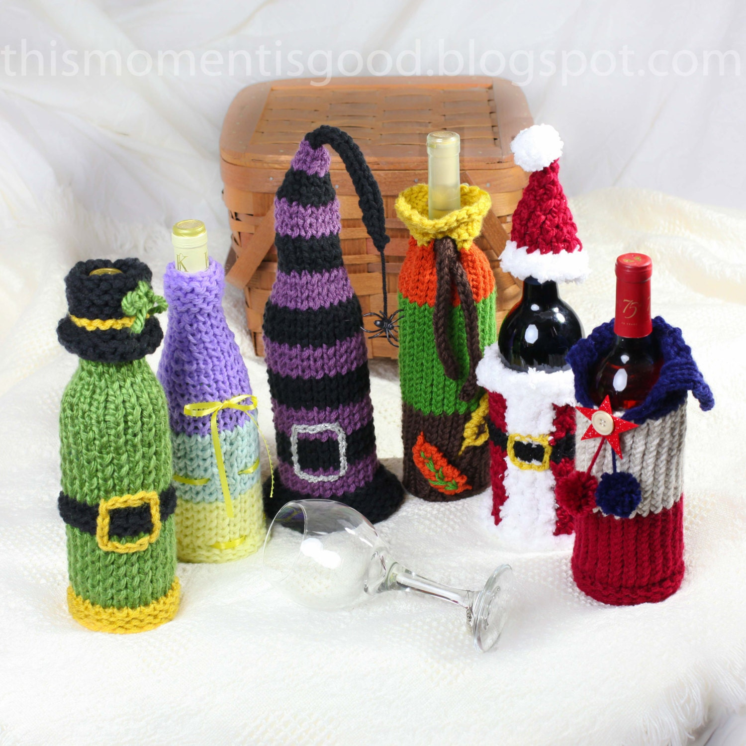 Wine Bottle Covers Loom Knitting Pattern Six Unique Holiday