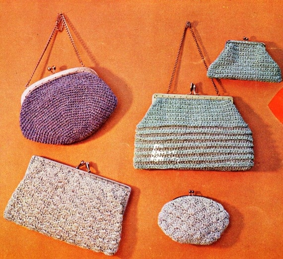 Vintage Crochet Evening Bag Purses Patterns. Five (5) Patterns.