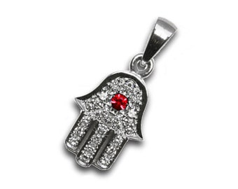 Textured 18k White Gold Hamsa Pendant with Ruby and Diamonds